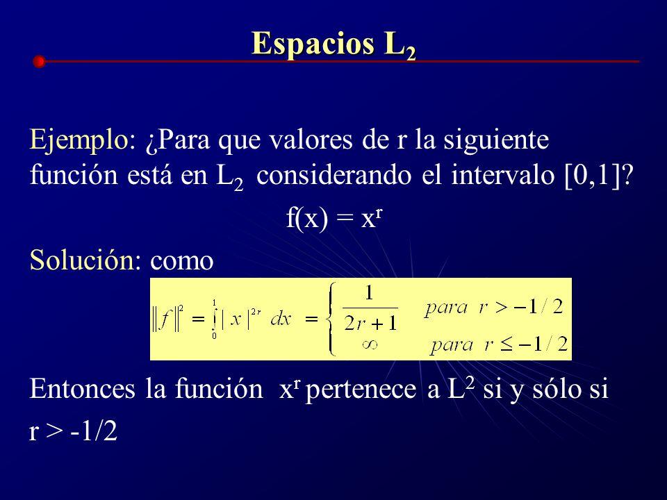 Espacios L2 Ejemplo: ¿Para que valores de r la siguiente función está en L2 considerando el intervalo [0,1]